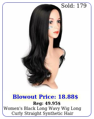 women's black long wavy wig long curly straight synthetic hair fashion lookin