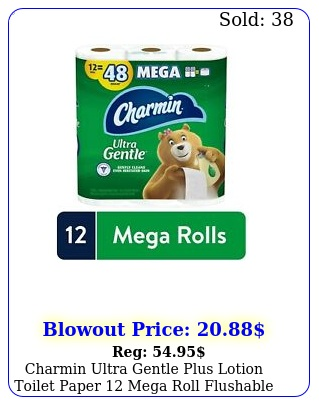 charmin ultra gentle plus lotion toilet paper mega roll flushable septicsaf