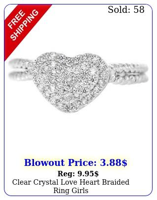clear crystal love heart braided ring girl