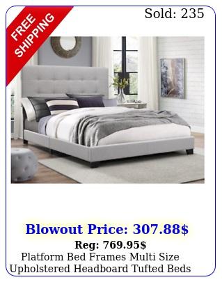platform bed frames multi size upholstered headboard tufted beds wood frame gra