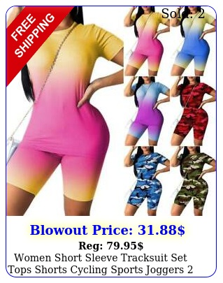 women short sleeve tracksuit set tops shorts cycling sports joggers piece sui