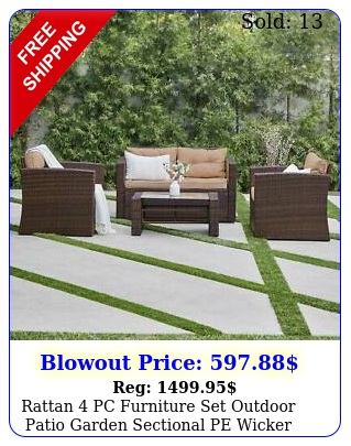 rattan pc furniture set outdoor patio garden sectional pe wicker cushion sof