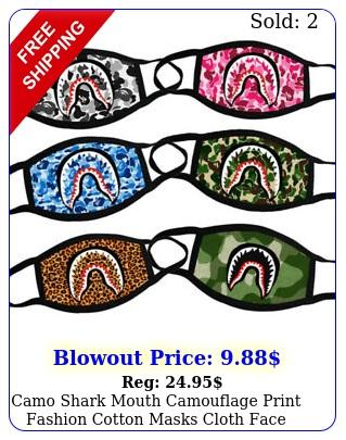 camo shark mouth camouflage print fashion cotton masks cloth face cover washabl