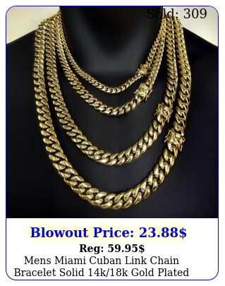 mens miami cuban link chain bracelet solid kk gold plated stainless stee