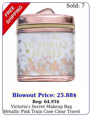 victoria's secret makeup bag metallic pink train case clear travel zip clos
