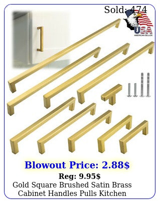 gold square brushed satin brass cabinet handles pulls kitchen stainless stee