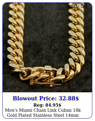 men's miami chain link cuban k gold plated stainless steel mm chain '