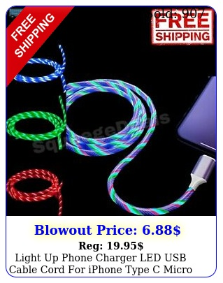 light up phone charger led usb cable cord iphone type c micro us xbox p