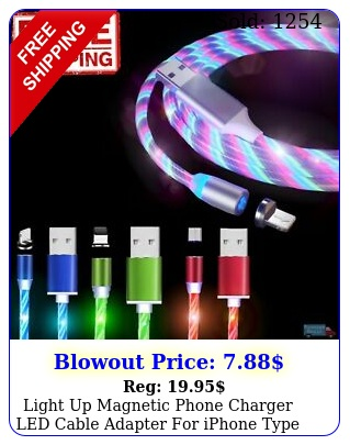 light up magnetic phone charger led cable adapter iphone type c micro us