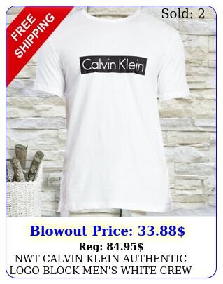 nwt calvin klein authentic logo block men's white crew neck short sleeve tshir