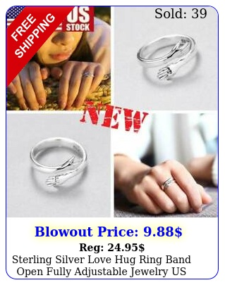 sterling silver love hug ring band open fully adjustable jewelry u