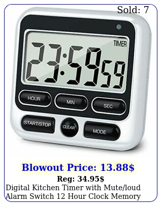 digital kitchen timer with muteloud alarm switch hour clock memory functio