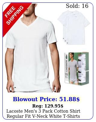 lacoste men's pack cotton shirt regular fit vneck white tshirts t