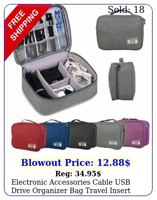 electronic accessories cable usb drive organizer bag travel insert case u