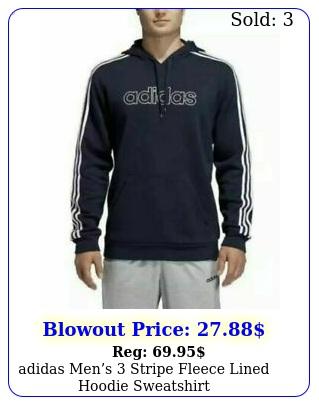 adidas mens stripe fleece lined hoodie sweatshir