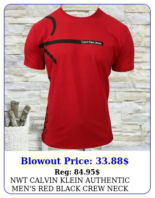 nwt calvin klein authentic men's red black crew neck short sleeve tshir