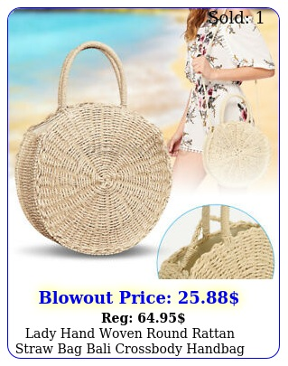 lady hand woven round rattan straw bag bali crossbody handbag shoulder bags us