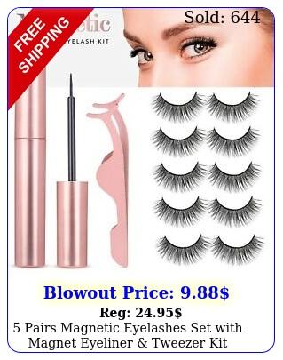 pairs magnetic eyelashes set with magnet eyeliner tweezer kit waterproo
