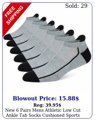 pairs mens athletic low cut ankle tab socks cushioned sports running gra