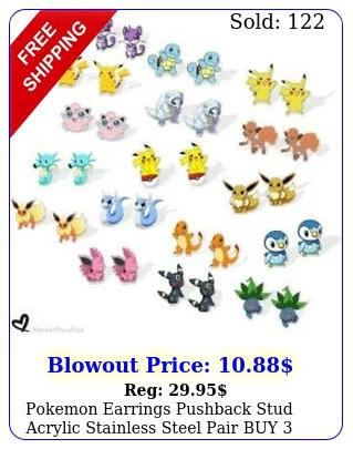 pokemon earrings pushback stud acrylic stainless steel pair buy get fre