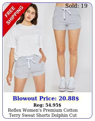 reflex women's premium cotton terry sweat shorts dolphin cut workout gym loung