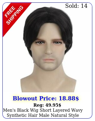 men's black wig short layered wavy synthetic hair male natural style cospla