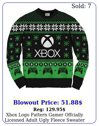 xbox logo pattern gamer offcially licesned adult ugly fleece sweate