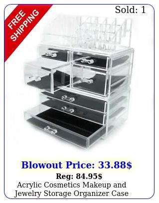 acrylic cosmetics makeup jewelry storage organizer case display w drawer