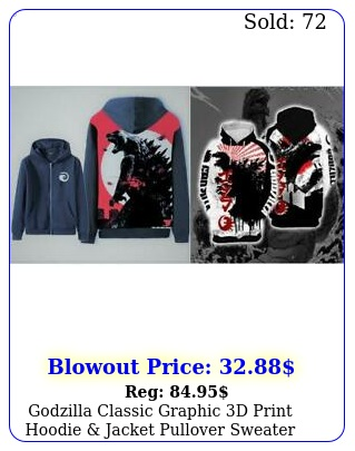 godzilla classic graphic d print hoodie jacket pullover sweater sweatshir