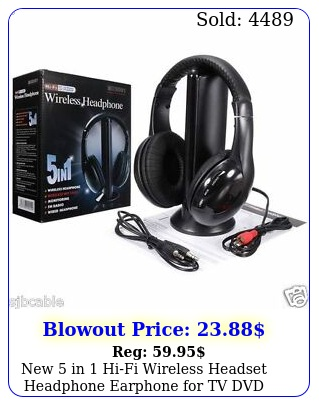 in hifi wireless headset headphone earphone tv dvd mp pc blac