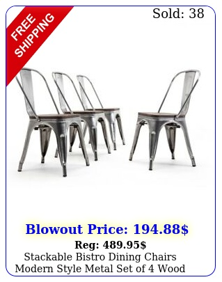 stackable bistro dining chairs modern style metal set of wood seat gunmeta