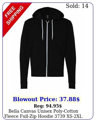 bella canvas unisex polycotton fleece fullzip hoodie xsx