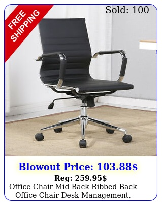 office chair mid back ribbed back office chair desk management black whit