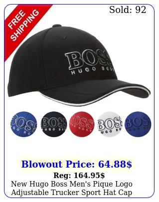 hugo boss men's pique logo adjustable trucker sport hat ca