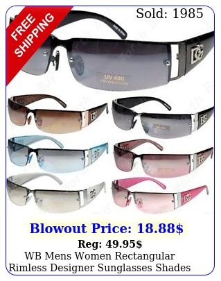 wb mens women rectangular rimless designer sunglasses shades fashion wrap aroun