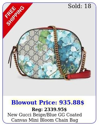 gucci beigeblue gg coated canvas mini bloom chain bag