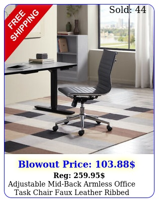 adjustable midback armless office task chair faux leather ribbed swivel blac