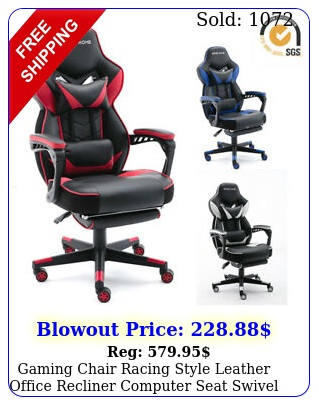 gaming chair racing style leather office recliner computer seat swivel footres