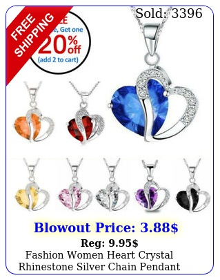 fashion women heart crystal rhinestone silver chain pendant necklace char