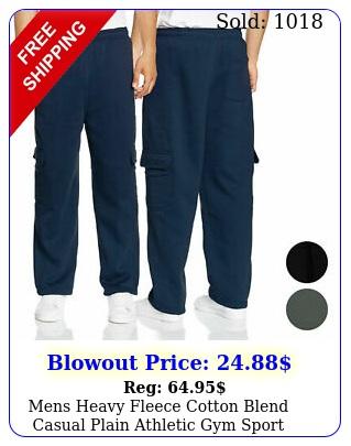 mens heavy fleece cotton blend casual plain athletic gym sport cargo sweatpant