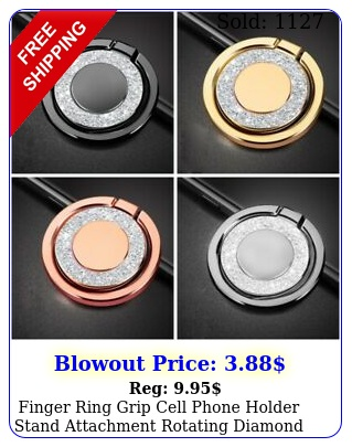 finger ring grip cell phone holder stand attachment rotating diamond mirro