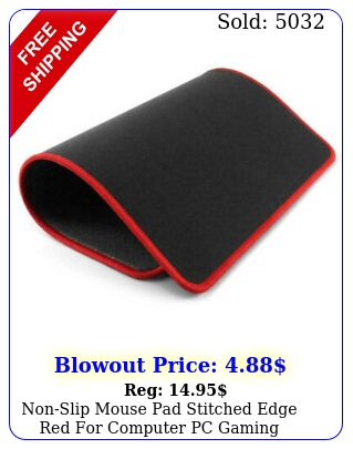 nonslip mouse pad stitched edge red computer pc gaming laptop rubber bas