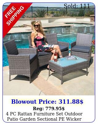 pc rattan furniture set outdoor patio garden sectional pe wicker cushion sof