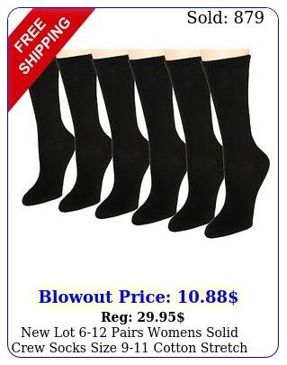 lot pairs womens solid crew socks size cotton stretch black casua