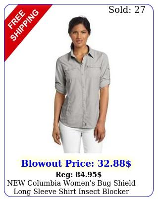 columbia women's bug shield long sleeve shirt insect blocker hiking grey me