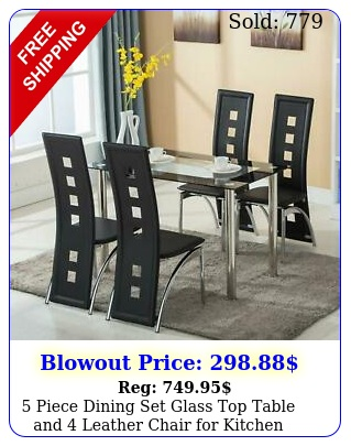 piece dining set glass top table leather chair kitchen dining roo