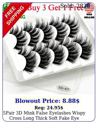 pair d mink false eyelashes wispy cross long thick soft fake eye lashes usa r