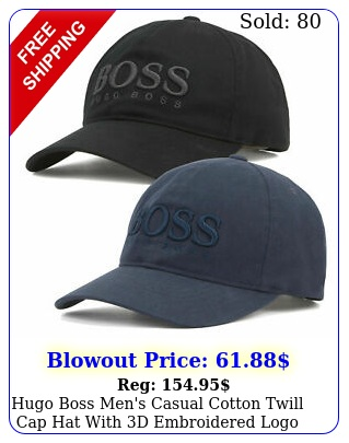 hugo boss men's casual cotton twill cap hat with d embroidered log