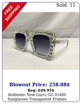 authentic gucci gg s sunglasses transparent frames crystals oversiz