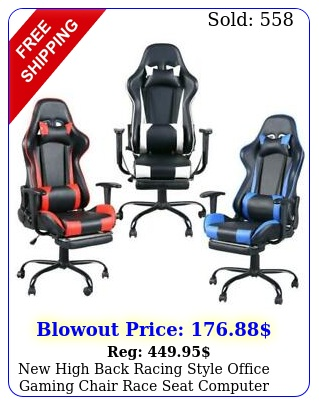 high back racing style office gaming chair race seat computer desk sea
